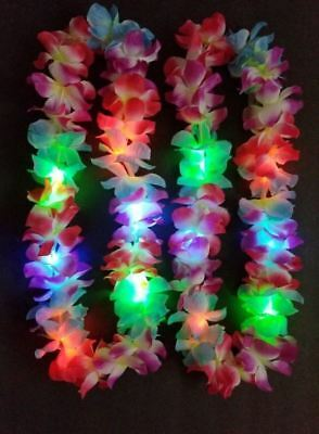 12 Lei Hawaiian LED Luau Necklace Flashing Rave Blinking Flower Vacation](Flashing Led Necklace)