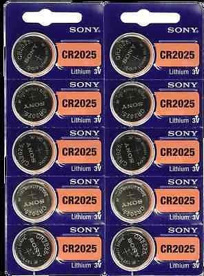 10 FRESH Genuine Sony CR2025 ECR2025 3V Coin Button Batteries EXPIRATION 2026