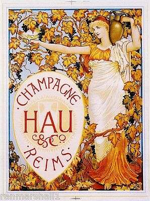 1900's French Champagne Hau Reims Food & Wine Advertisement Art Poster Print