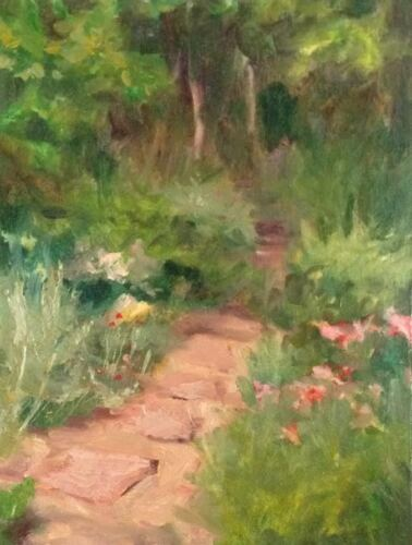 Garden Path ORIGINAL American oil paintingon linen board Margaret Aycock sale