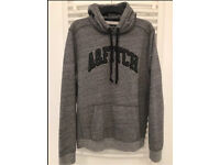 MENS GREY ABERCROMBIE AND FITCH LOGO HOODY HOODED TOP LARGE 100% GENUINE