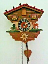 Vtg Working German Weight Driven Small Cuckoo Clock Wall Clock Germany DBGM