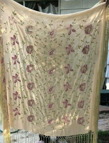 Vtg Embroidered Silk Piano Shawl (Double Sided)