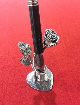 Pewter Rose Pen Pencil Holder Ball Point Vintage Desktop Stand Set Desk #1