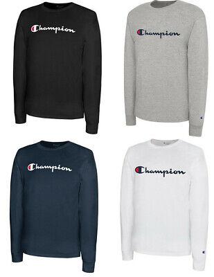 CHAMPION Classic Script Logo LONG SLEEVE Athletic T-Shirt Tee New S-2XL Logos Sleeve Tee T-shirt