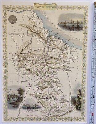"""Antique vintage colour map 1800s: British Guayana: John Tallis 13 X 9"""" Reprint"""