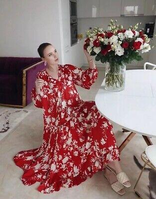 BNWT H&M Johanna Ortiz Red Voluminous Maxi Dress, Large L SOLD OUT Blogger