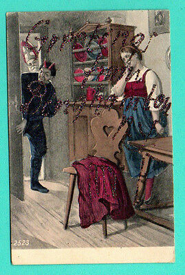 KRAMPUS DEVIL WOMAN AND SANTA CLAUS Saint Nicolas VINTAGE POSTCARD 447