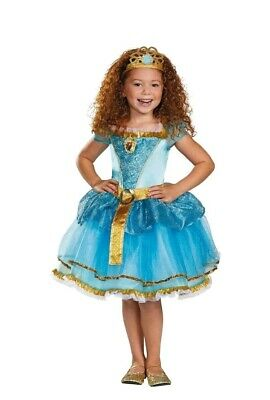 Merida Costume Kids XS 3T-4T Brave Disney Princess Halloween Fancy Dress Tiara