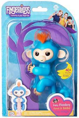 Fingerlings Interactive Baby Monkey Boris Blue Figure W  Orange Hair Authentic