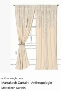 "Anthropologie Curtains Drapes Silver on Ivory 2 Panels 42"" x 96"