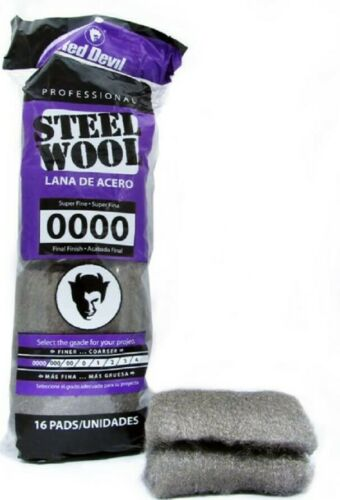 Super Fine Steel Wool Pads Grade 0000 For Final Polish And Cleaning #0000 16 Pcs