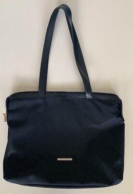 Coccinelle Italian Navy Blue Canvas/Leather Laptop Bag BriefcasePurse.