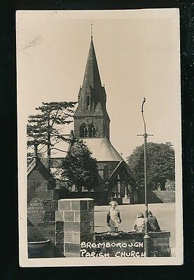 Cheshire BROMBOROUGH Parish Church & local children c1940/50s? RP PPC