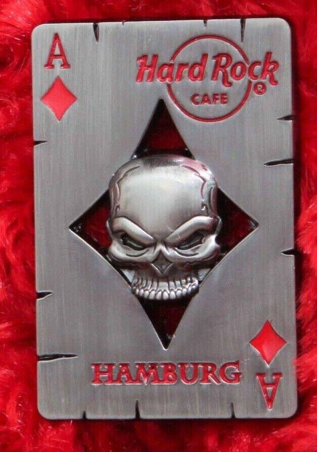 Hard Rock Cafe Pin HAMBURG 3D SKULL Poker Playing Card Diamond Hat Lapel Logo  - $18.50