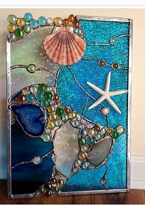Stained Glass Window Tropical Starfish Sea Shell  Beach Suncatcher w Agates