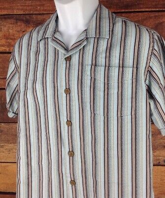 PRANA~mens M~Textured Dobby Stripe S/S Shirt Blue Brown Organic Cotton Blend