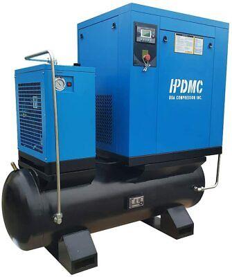 15hp 230v 3-phase Rotary Screw Air Compressor 57cfm-80-gallon Tank W Air Dryer
