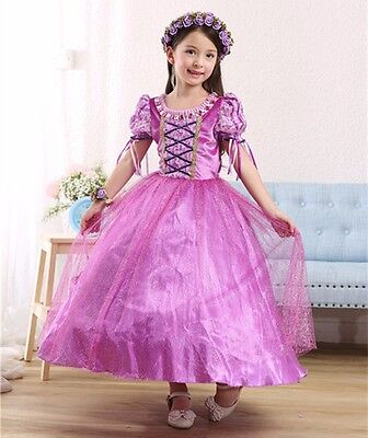 Holiday Dresses For Kids (Princess Rapunzel Party kids Dress Costume Dress Ball Gown for girls 2-10)