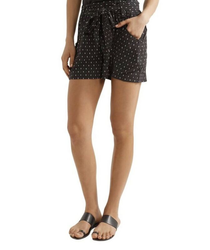 Hatch Maternity Women's THE STROLL SHORT Black w/Ivory Print Size 0 (XS/0-2) NEW