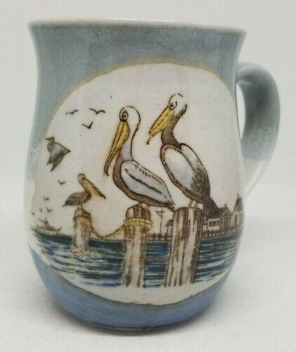 Otagiri Pelican coffee mug cup vintage stoneware sea shore ocean birds blue 12oz