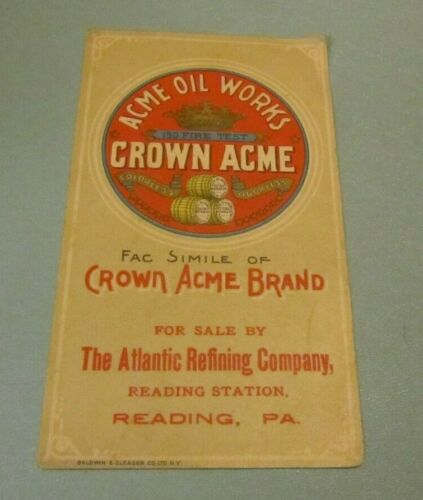 Antique Atlantic Refining Company Acme Oil Works Crown Acme Advertising Card