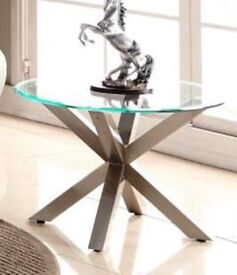Nelson Glass Top Coffee Table with Brushed Stainless Steel Round