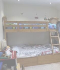 Wooden triple bunk bed for sale mattress included