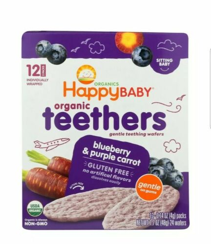 Happy Baby Organic Teething Wafers Variety Bundle With 2 Fla