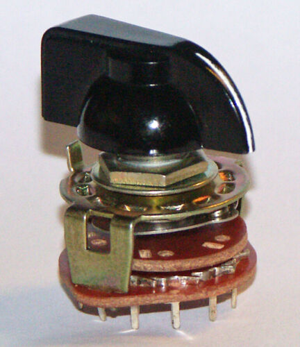 Rotary Switch 1 Pole 12 Position, Break Before Make PC terminals W/Pointer Knob