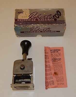 Vintage Roberts Numbering Machine Model No.190 Stamp In Original Box No Ink