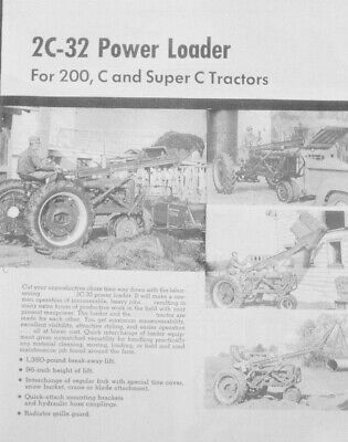 2c-32 Power Front End Loader Dealer Brochure Ih Farmall C Super C 200