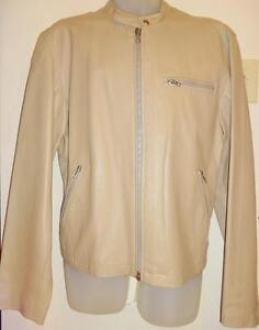 Oakville NEW Mens LEATHER JACKET 42 L TALL TAUPE LIGHT BROWN/ Long Sleeves Slim Sexy Cafe Racer  OAKVILLE 905-510-8720