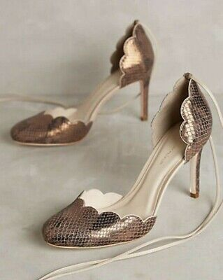 New Anthropologie Guilhermina SCALLOPED Brazil Gold D'Orsay Tie Up Sz 38 / 7