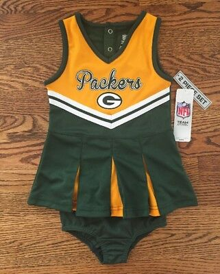 NWT Green Bay Packer NFL Cheerleader Size 2T Uniform Outfit Costume 2 piece set - Green Bay Packer Costume