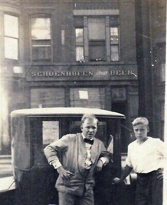 1924 cute teen boy SCHOENHOFEN Beer Brewery Building Chicago Illinois w/ old car