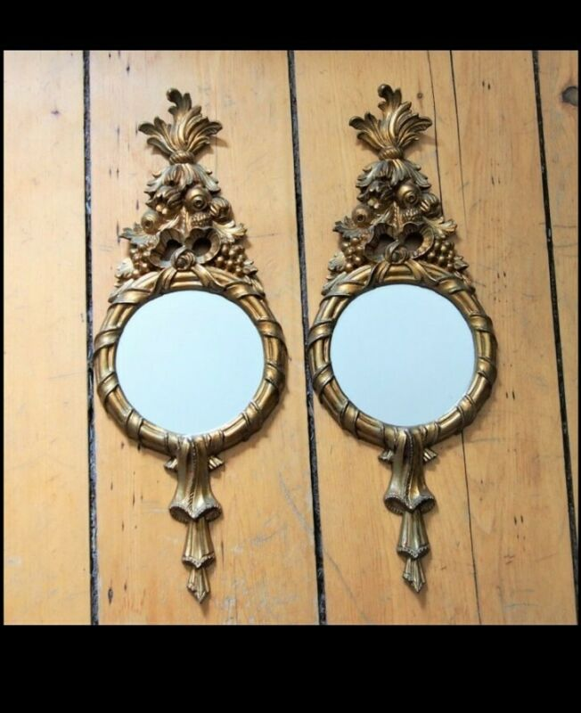 Vintage Toleware Gold Gilt Florentine Pair Ornate Hollywood Regency Wall Mirrors
