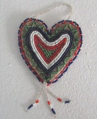 Antique Cree beaded heart Pendant / Belt Ornament