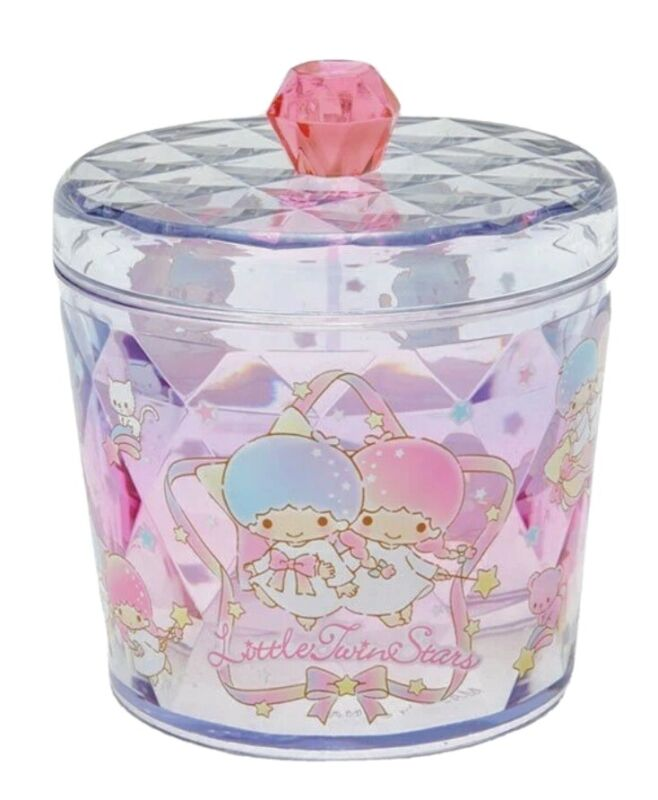 Little Twin Stars Sanrio Canister w/Lid Clear Cosmetic Container *NEW*