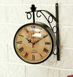 6 Victoria Station Antique Brass Double Sided Railway Clock Nautical Wall Decor