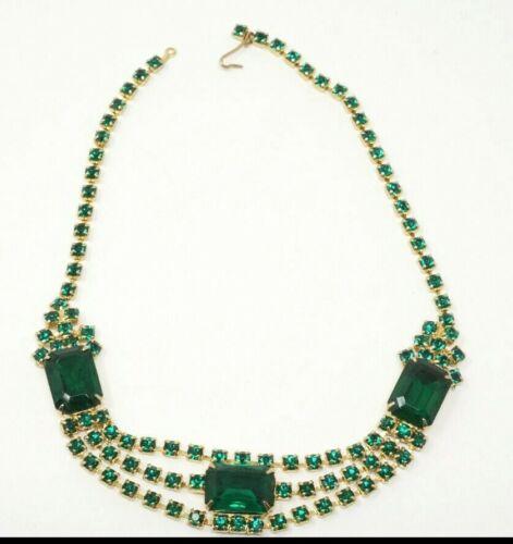"Vintage Green Costume Cocktail Necklace Gold tone Glass crystal ESTATE 14.5"""