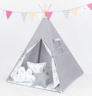 Tipi Teepee Kinderzelt 150cm Wigwam 3 Kissen Bodenmatte Sterne Grau /Feen Neu