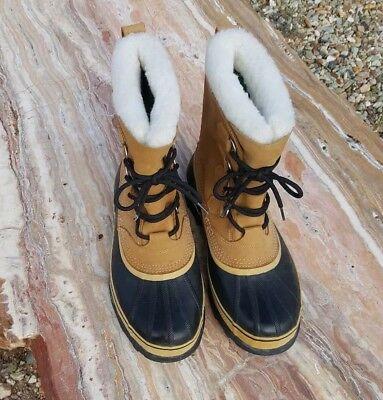 Sorel Men's Caribou II Snow Boots Tan Winter Kaufman Wool Liners Canada Sz 9