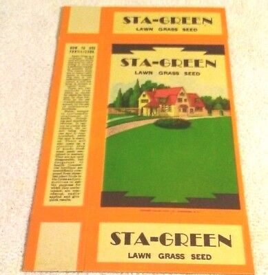 Rare Old Vintage Original Sta-Green Lawn Grass Seed Box Unused Condition 1930's