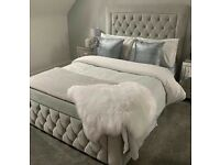 🎆💖🎆BEST SELLING BRAND🎆💖🎆Brand new Double Heaven bed Frame With Diamond Buttons in Grey Color