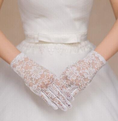 NEU Edle Handschuhe Braut Party Brauthandschuhe Hochzeit Spitzen Mustern Blumen (Weiße Spitzen Handschuhe)