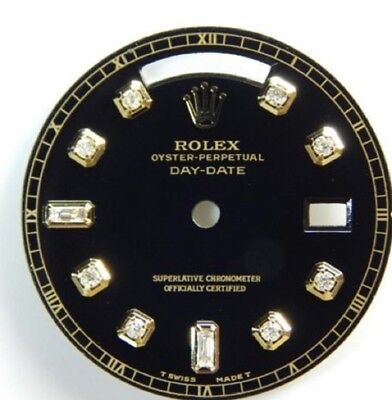 BRILLANT ZIFFERBLATT ROLEX DAY DATE SCHWARZ DIAMANT ZIFFERNBLATT