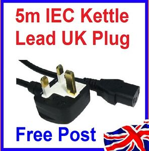 5m IEC Mains Power Cable UK Plug Kettle Pc Monitor Lead Cord C13 Black