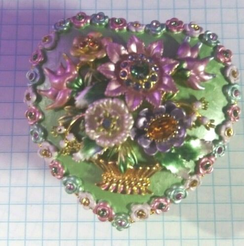 Vintage Joan Rivers Flower Heart Shaped Trinket Box Metal and Enamel