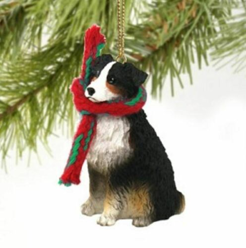 AUSTRALIAN SHEPHERD DOG CHRISTMAS ORNAMENT HOLIDAY XMAS Figurine Scarf Pet Tri